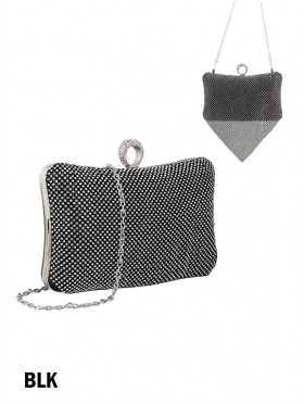 Rhinestone Faux Leather Evening Clutch