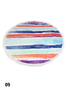 Water Colour Lines Round Beach Towel