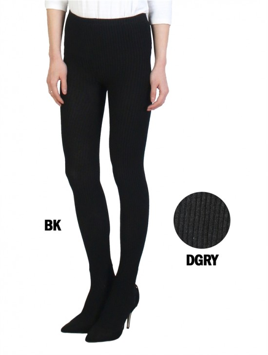 Full-Length Footed Ribbed Stretch Leggings