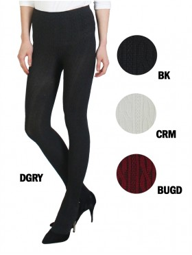 Full-Length Footed Cable Knit Stretch Leggings