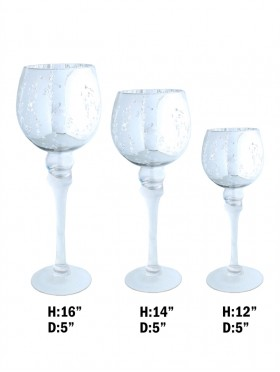 GOBLET STYLE GLASS WITH METALLIC DETAIL, SET OF 3