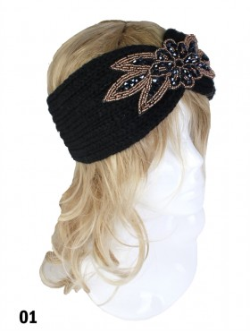 Rhinestone Knit Flower Headband