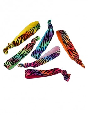 Hair Elastics, Rainbow Zebra