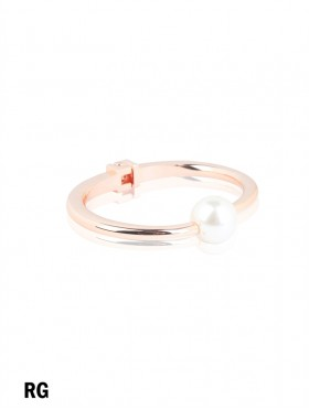 Solid Color Bangle With Pearl
