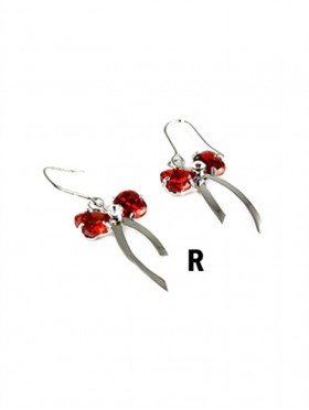 RHINESTONED BOW HOOK EARRINGS