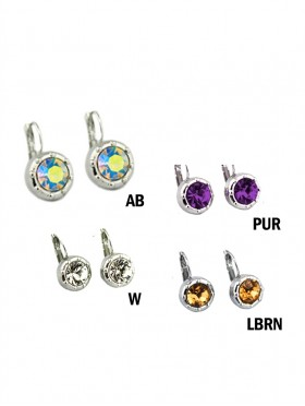 COLOURED RHINESTONE HOOK EARRINGS