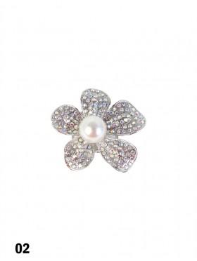 Rhinestone & Pearl Flower Brooch Clip