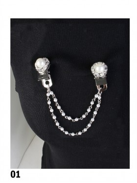 Clip On Rhinestone & Pearl Brooches