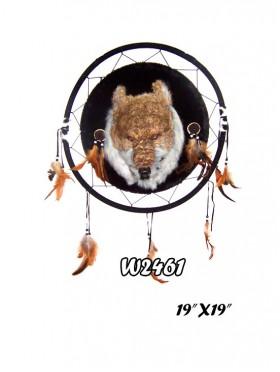 WOLF DREAM CATCHER HANGING FIXTURE FEATURING NATIVE ART