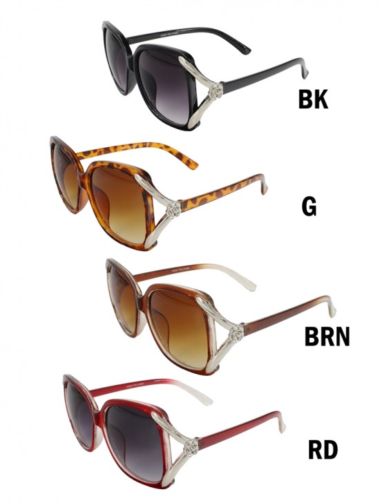 Oversize Gradient Sunglasses W/ Flower