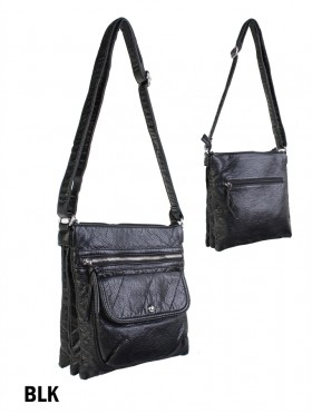 Solid Faux Leather Front Pocket Satchel