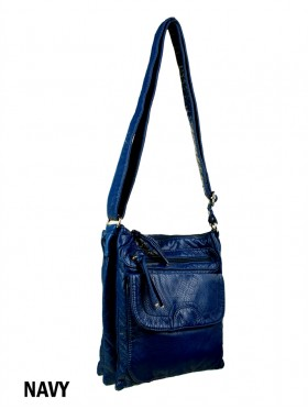 Solid Faux Leather Satchel