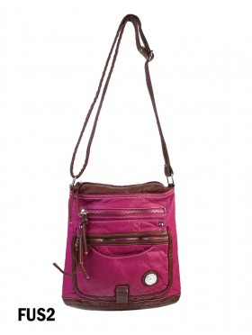TWO TONE FAUX LEATHER SATCHEL