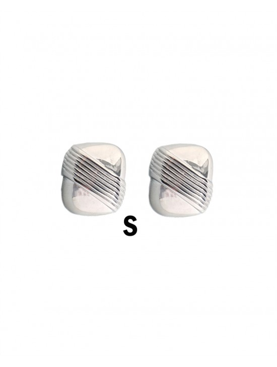 LINEAR TEXTURE RECTANGLE CLIP-ON EARRINGS