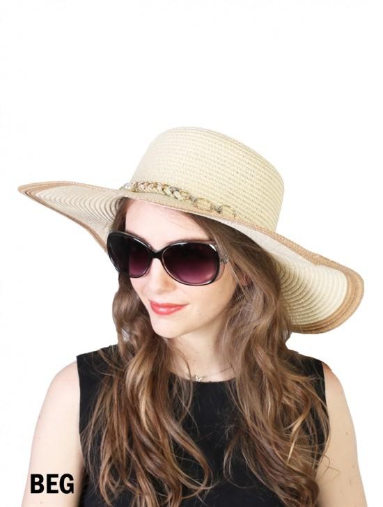 Summer Two Tone Floppy Straw Hat W/ Pearl