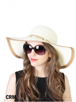 Summer Two Tone Floppy Straw Hat W/ Preal