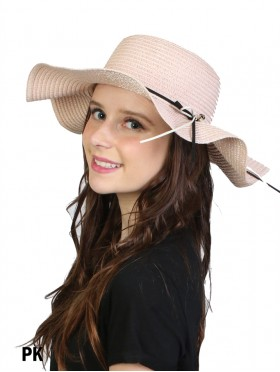 Summer Floppy Straw Hat W/ Preal & Ribbon