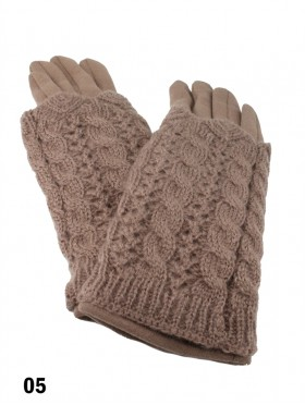 2 Layers Cable Knit Touch Screen Glove