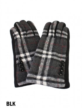 Buttoned Plaid Touch Screen Glove