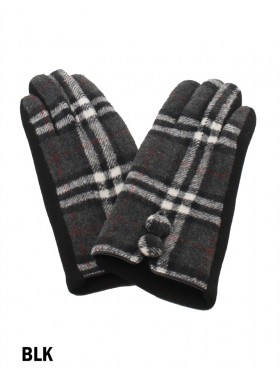 Double Buttoned Plaid Touch Screen Glove
