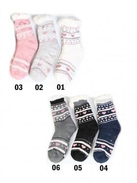 Heart Print Indoor Anti-Skid Winter Slipper Socks