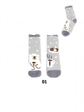 Polar Bear Print Indoor Anti-Skid Slipper Socks (With Heel)