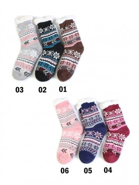 Colourful Snowflake Indoor Anti-Skid Winter Slipper Socks