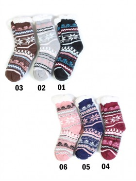 Multi Colour Snowflake Print Indoor Anti-Skid Winter Slipper Socks