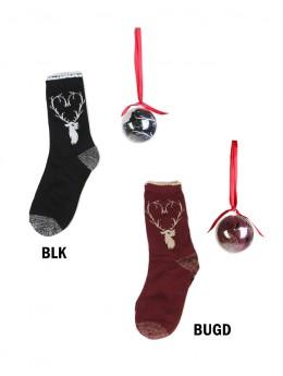 Reindeer Print Socks In Christmas Ball