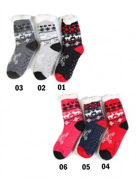Reindeer Winter Print Indoor Anti-Skid Slipper Socks