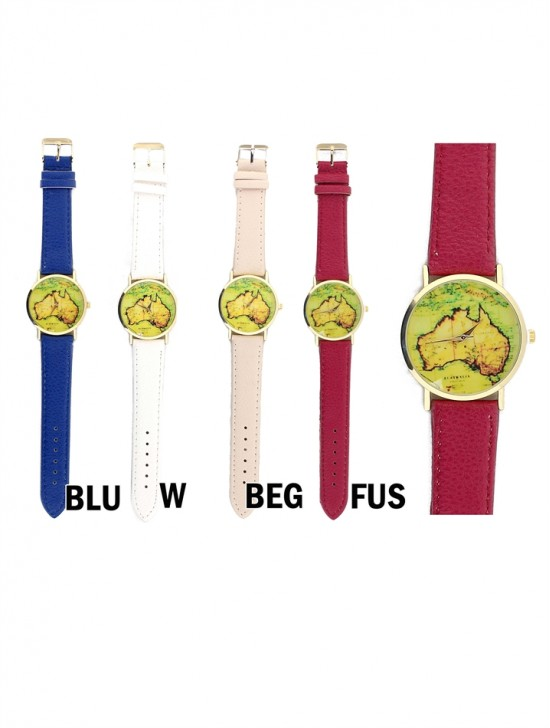 FAUX LEATHER WATCH WITH MAP PRINT