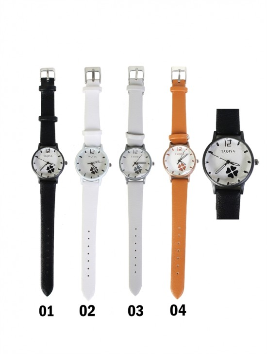 Faux Leather Watch With Four Leaf Clover