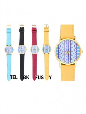 FAUX LEATHER WATCH WITH WAVE PRINT
