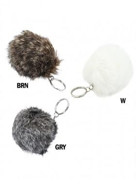 Silver Keychain W/ Fur Ball