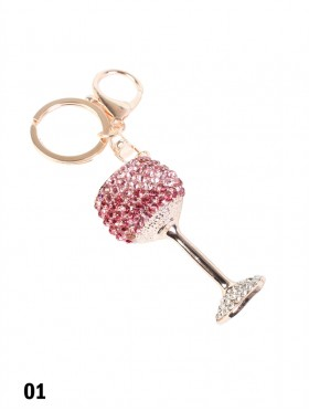 Rhinestone Wine Glass Keychain