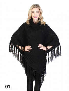 Cowl Neck Cape/Poncho W/Fringes