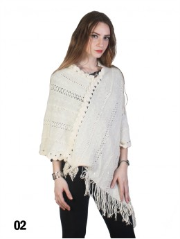Knitted Lace Poncho W/Fringes