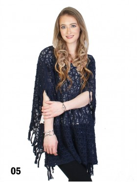 Loose Knitted Top W/ Fringes and Sequins