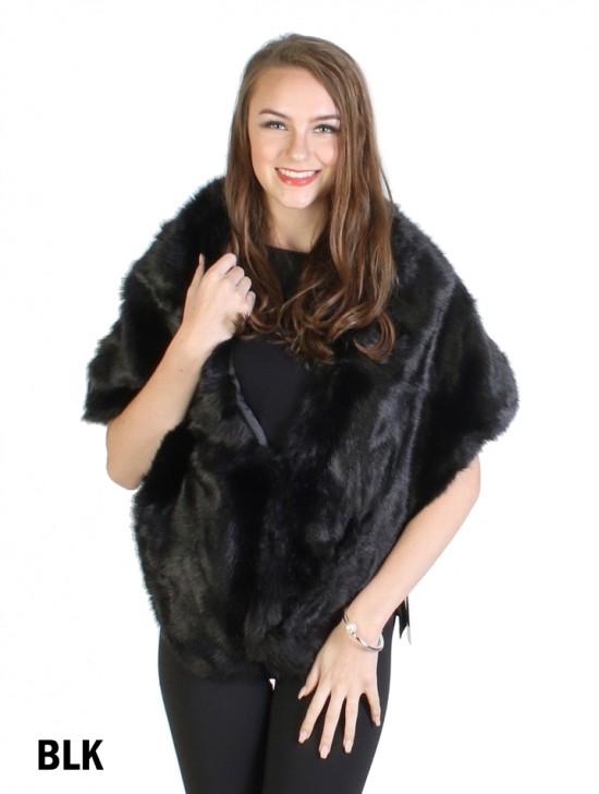 Classic Faux Fur Cape W/ Clip