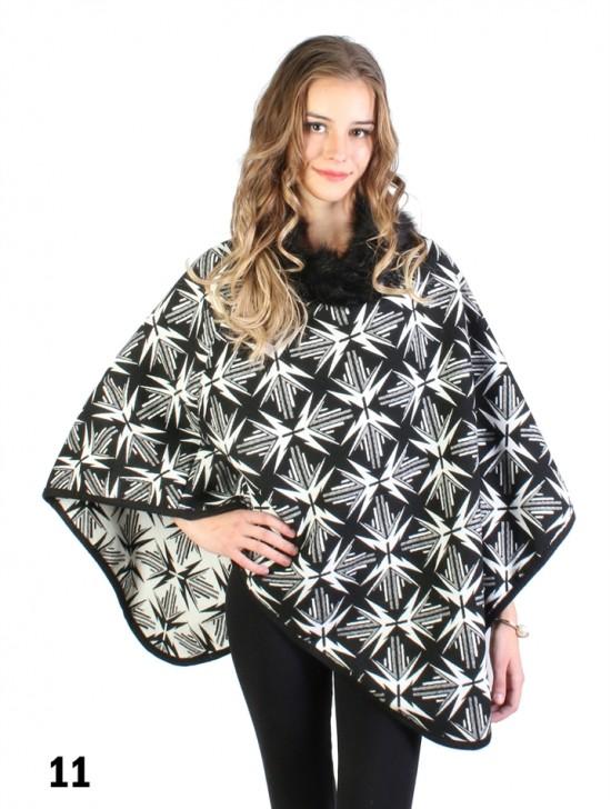 Geometric-Pattern Poncho W/ Fur Collar