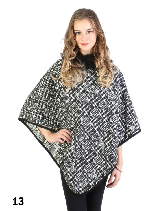 Hounds-Tooth Poncho W/ Fur Collar