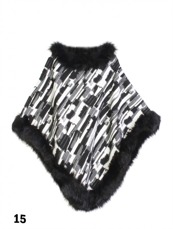 Domino Poncho W/ Fur Collar & Edge