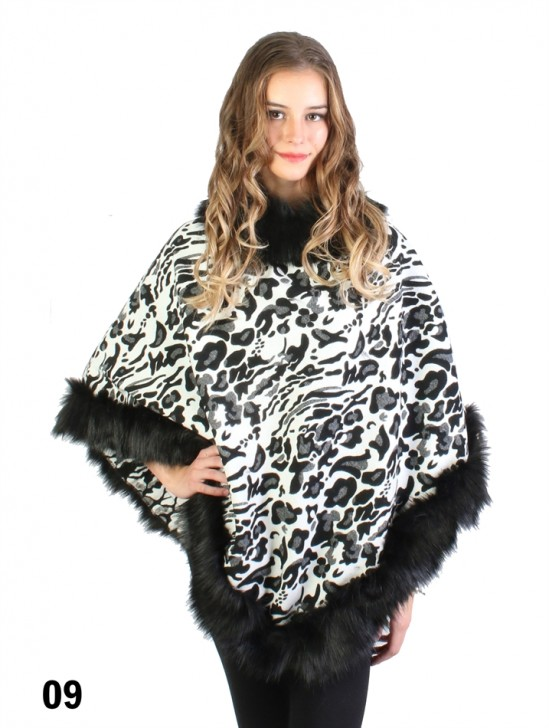 Black & White Leopard Print Poncho W/ Fur Collar & Edge