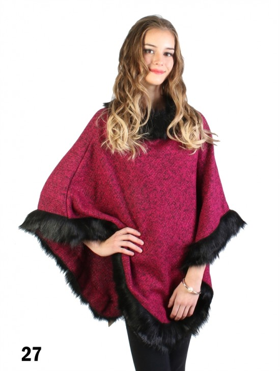 Simple Fuchsia Poncho W/ Fur Collar & Edge