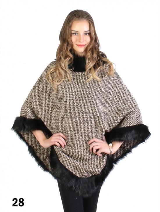Woolen Grid Poncho W/ Fur Collar & Edge
