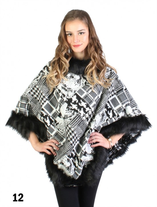 Black & White Chic Imitative Poncho W/ Fur Collar & Edge
