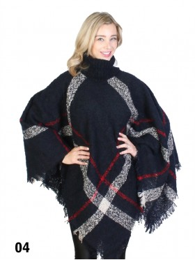 Cozy Fringed Poncho W/Turtleneck