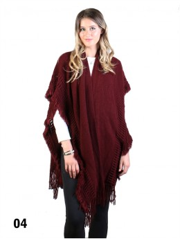 Knitted Knee Length Cape W/Tassels