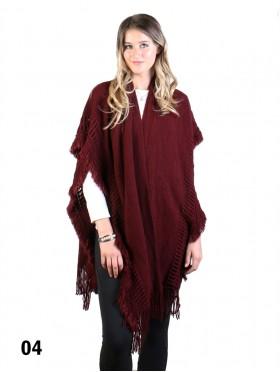 Knitted Knee Length Cape W/Tassels