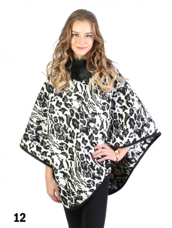 Black & White Leopard Print  Poncho W/ Fur Collar